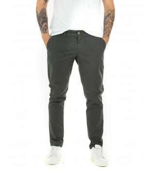 Pantalone Uomo Tinta Unita MIcrofantasia Regular Fit Classico Casual GIOSAL