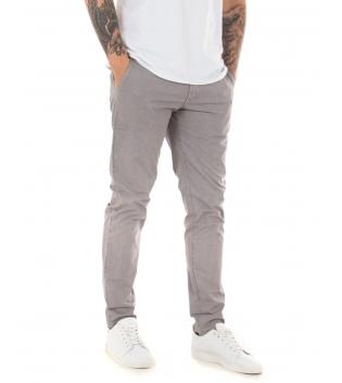 Pantalone Uomo Tinta Unita Beige Microfantasia Regular Fit Classico Casual GIOSAL-Beige-42