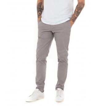 Pantalone Uomo Tinta Unita Beige Microfantasia Regular Fit Classico Casual GIOSAL