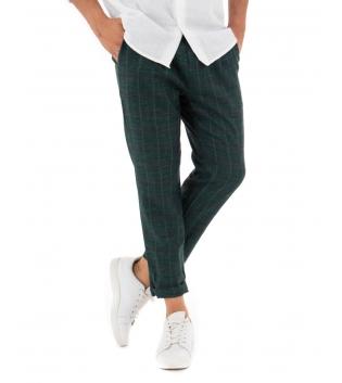 Pantalone Uomo Lungo Lino Classico Sartoriale Scozzese Verde GIOSAL