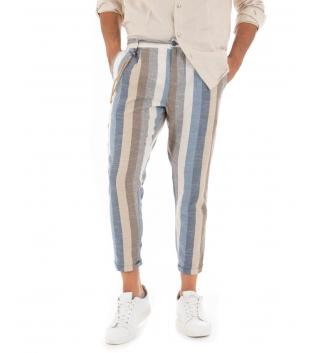Pantalone Uomo Lino Celeste Paul Barrell Rigato Multicolore Righe Tasca America Casual GIOSAL