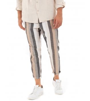 Pantalone Uomo Lino Celeste Paul Barrell Rigato Multicolore Beige Righe Tasca America Casual GIOSAL
