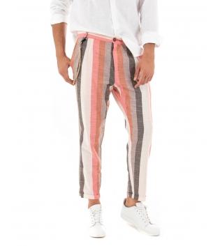 Pantalone Uomo Lino Celeste Paul Barrell Rigato Multicolore Corallo Righe Tasca America Casual GIOSAL