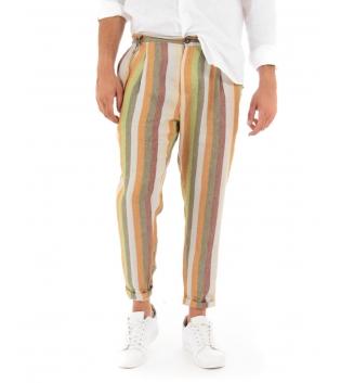 Pantalone Uomo Lino Celeste Paul Barrell Rigato Multicolore Arancio Righe Tasca America Casual GIOSAL