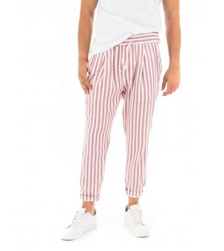 Pantalone Uomo Lungo Elastico Riga Stretta Rosso Elastico Cotone Paul Barrell GIOSAL