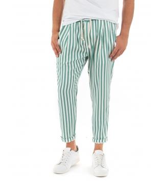 Pantalone Uomo Lungo Elastico Riga Stretta Verde Elastico Cotone Paul Barrell GIOSAL-Verde-S
