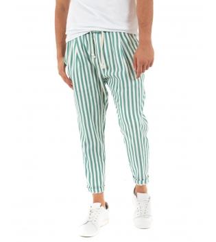 Pantalone Uomo Lungo Elastico Riga Stretta Verde Elastico Cotone Paul Barrell GIOSAL
