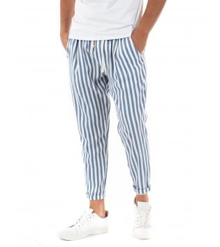 Pantalone Uomo Lungo Elastico Riga Stretta Blu Elastico Cotone Paul Barrell GIOSAL
