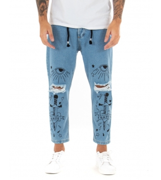Pantalone Uomo Jeans Stampe Denim Rotture Laccio Cinque Tasche GIOSAL