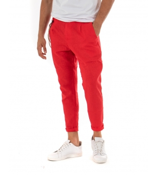 Pantalone Uomo Lino Tinta Unita Rosso Paul Barrell Pinces Elegante GIOSAL