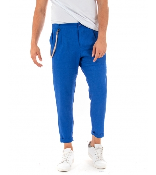 Pantalone Uomo Lino Tinta Unita Blu Royal Paul Barrell Pinces Elegante GIOSAL