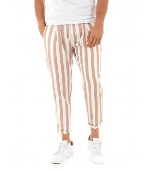 Pantalone Uomo Lungo Elastico Rigato Beige Elastico Cotone Paul Barrell GIOSAL
