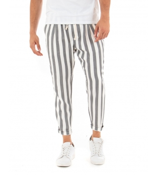 Pantalone Uomo Lungo Elastico Rigato Nero Elastico Cotone Paul Barrell GIOSAL