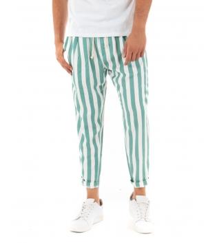 Pantalone Uomo Lungo Elastico Rigato Verde Elastico Cotone Paul Barrell GIOSAL-Verde-S