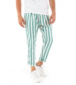 Pantalone Uomo Lungo Elastico Rigato Verde Elastico Cotone Paul Barrell GIOSAL