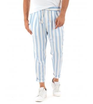 Pantalone Uomo Lungo Elastico Rigato Celeste Elastico Cotone Paul Barrell GIOSAL