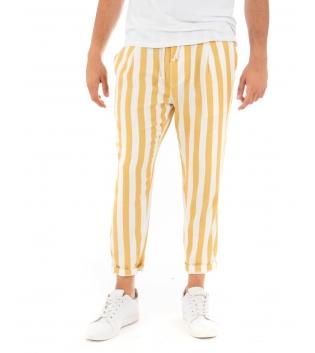 Pantalone Uomo Lungo Elastico Rigato Giallo Elastico Cotone Paul Barrell GIOSAL