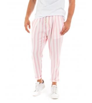 Pantalone Uomo Lungo Elastico Rigato Rosa Elastico Cotone Paul Barrell GIOSAL