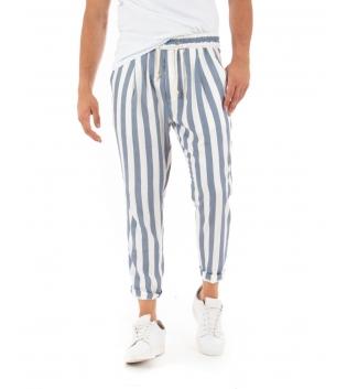Pantalone Uomo Lungo Elastico Rigato Blu Elastico Cotone Paul Barrell GIOSAL