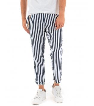 Pantalone Uomo Lungo Rigato Blu Paul Barrell Casual Catena GIOSAL