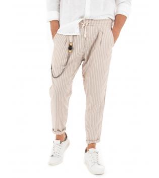 Pantalone Uomo Lungo Rigato Lino Elastico Tasca America Casual GIOSAL-Beige-S