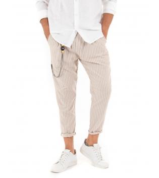 Pantalone Uomo Lungo Rigato Lino Elastico Tasca America Casual GIOSAL