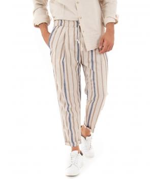 Pantalone Uomo Lungo Elastico Rigato Lino Beige Casual GIOSAL-Beige-S