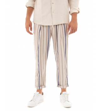 Pantalone Uomo Lungo Elastico Rigato Lino Beige Casual GIOSAL
