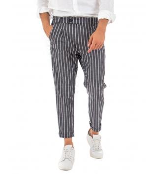 Pantalone Uomo Classico Lino Rigato Pinces Tasca America Paul Barrell GIOSAL