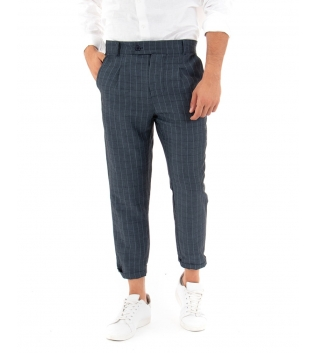 Pantalone Uomo Lungo Scozzese Blu Paul Barrell Casual Classico GIOSAL