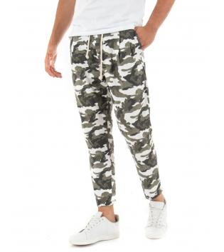 Pantalone Uomo Militare Paul Barrell Verde Elastico Casual GIOSAL
