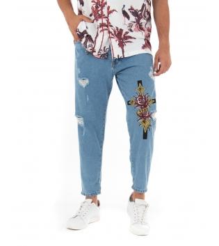 Pantalone Uomo Jeans Denim Rotture Stampa Cinque Tasche GIOSAL