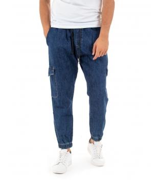 Pantalone Uomo Lungo Jeans Cargo Denim Blu Elastico Casual GIOSAL