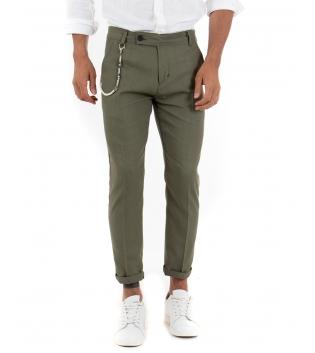 Pantalone Uomo Lino Bottone Allungato Casual Classico Tinta Unita Verde GIOSAL