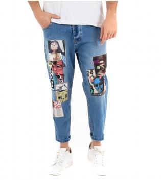 Pantalone Uomo Jeans Stampe Denim Foto Cavallo Basso Casual GIOSAL