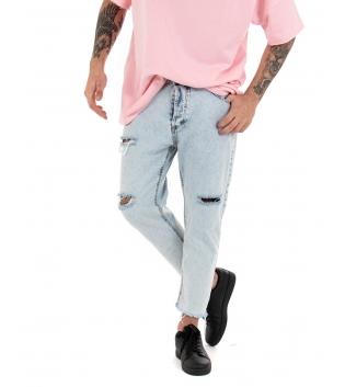 Pantalone Uomo Lungo Jeans Rotture Sfumato Casual Cinque Tasche GIOSAL