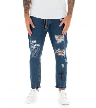 Pantalone Uomo Jeans Denim Cerniera Stampa Rotture Cinque Tasche GIOSAL