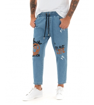 Pantalone Uomo Jeans Stampe Elastico Coulisse Tasca America GIOSAL