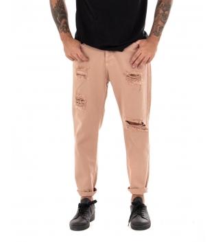 Pantalone Uomo Jeans Tinta Unita Salmone Rotture Cavallo Basso GIOSAL