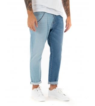 Jeans Uomo Bicolore Lavaggio Chiaro Scuro Lungo Cinque Tasche GIOSAL