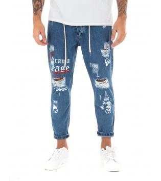 Jeans Uomo Lungo Rotture Stampe Cinque Tasche Laccio GIOSAL