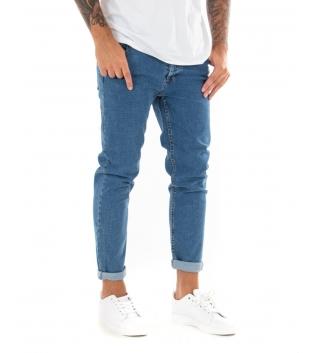 Jeans Uomo Lungo Pantalone Denim Elastico Casual Cinque Tasche GIOSAL