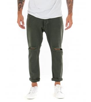 Pantalone Uomo Lungo Tinta Unita Jeans Verde Rottura Black Svnday Casual GIOSAL