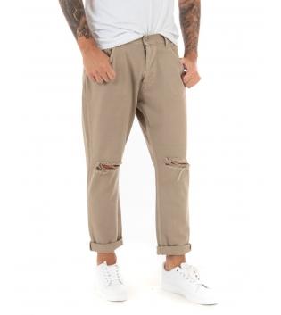 Pantalone Uomo Lungo Tinta Unita Jeans Beige Rottura Black Svnday Casual GIOSAL