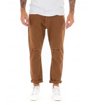 Pantalone Uomo Lungo Tinta Unita Jeans Tabacco Rottura Black Svnday Casual GIOSAL