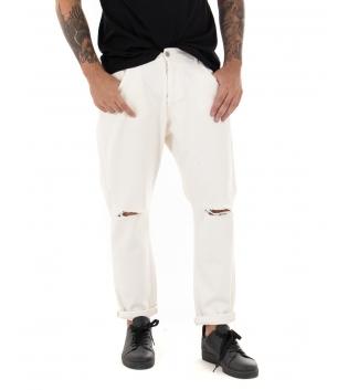 Pantalone Uomo Lungo Tinta Unita Jeans Panna Rottura Black Svnday Casual GIOSAL