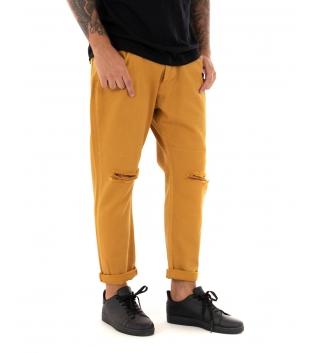 Pantalone Uomo Lungo Tinta Unita Jeans Senape Rottura Black Svnday Casual GIOSAL