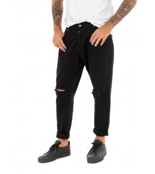 Pantalone Uomo Lungo Tinta Unita Jeans Nero Rottura Black Svnday Casual GIOSAL