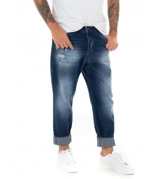Jeans Uomo Pantalone Lungo Denim Sfumato Cinque Tasche Straight GIOSAL