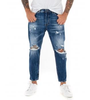 Jeans Uomo Lungo Rotture Denim Cinque Tasche Black Svnday Casual GIOSAL